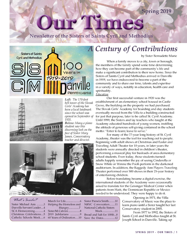 SSCM Our Times Newsletter Spring 2019